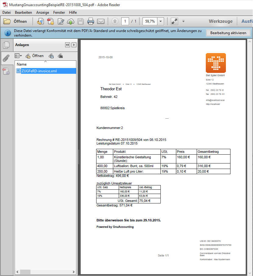 Screenshot of Acrobat Adobe PDF Reader showing a ZUGFeRD invoice with open file attachments tab